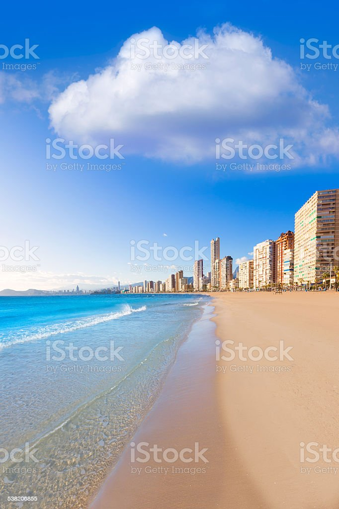 Benidorm Alicante beach in Mediterranean Spain stock photo
