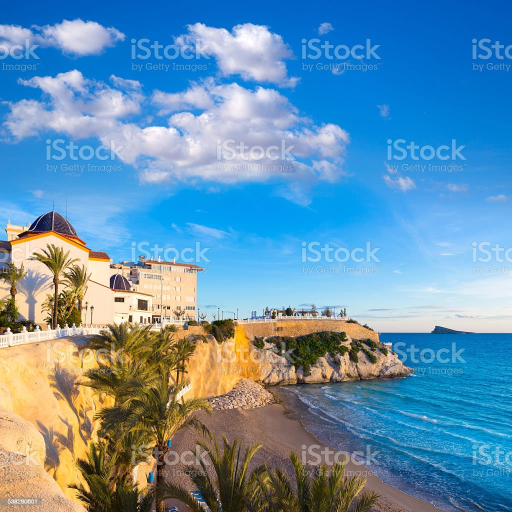 Benidorm Alicante playa del Mal Pas beach at sunset stock photo