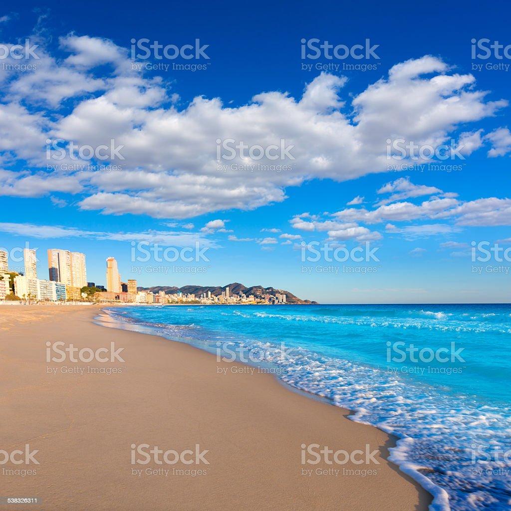 Benidorm Alicante playa de Poniente beach in Spain stock photo
