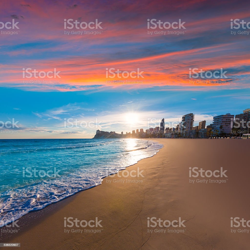Benidorm Alicante playa de Poniente beach sunset in Spain stock photo