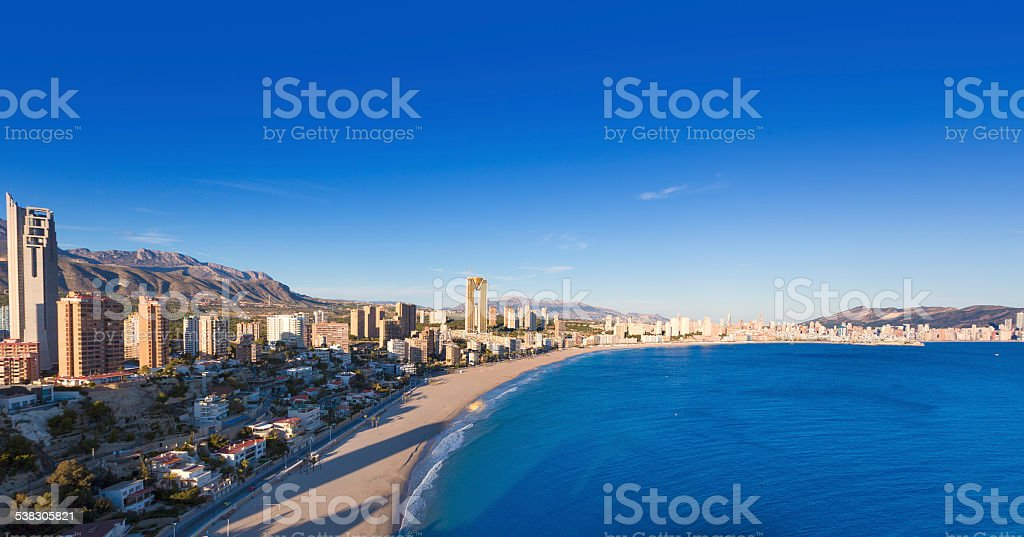 Benidorm alicante skyline aerial view of Poniente beach stock photo