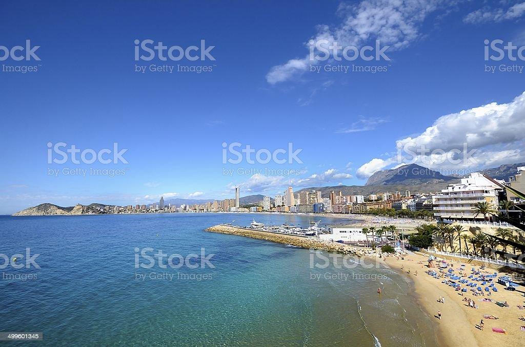 Benidorm beach in blue sky stock photo