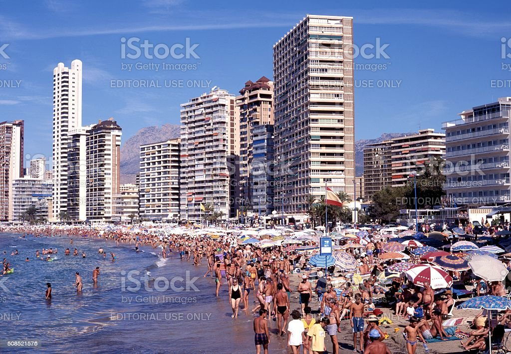 Benidorm beach, Spain. stock photo