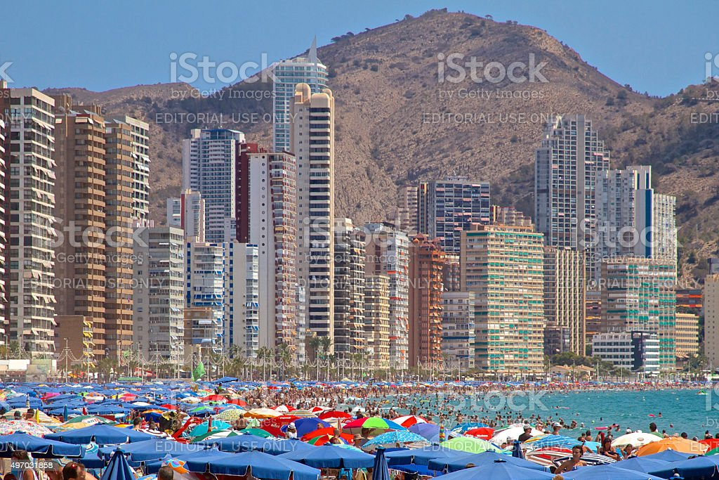 Benidorm Crowded Levante Beach with Skyscrapers stock photo