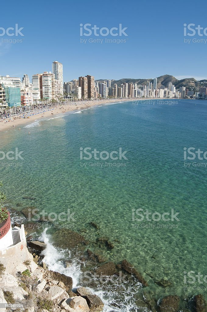 Benidorm in Spain with Aqua sea. stock photo