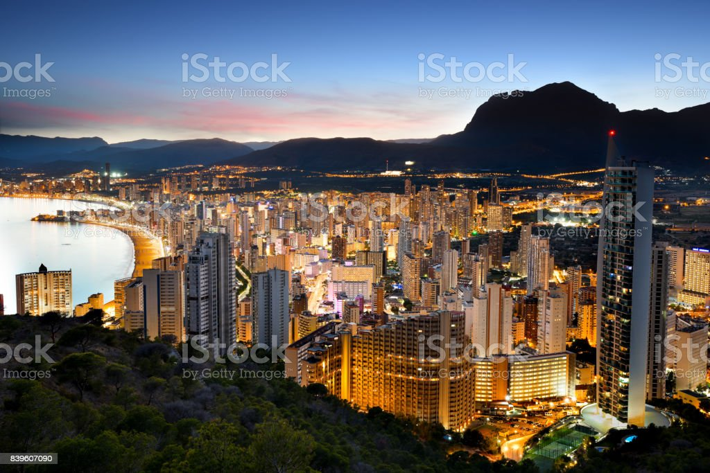Benidorm Lights at Sunset, Alicante Province, Spain stock photo