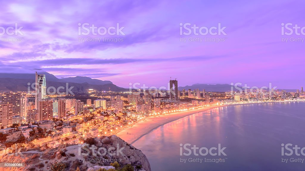 Benidorm night II stock photo