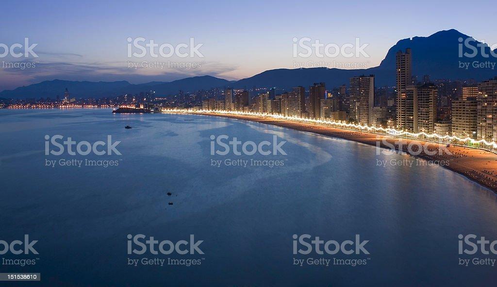 Benidorm panorama at sunset stock photo