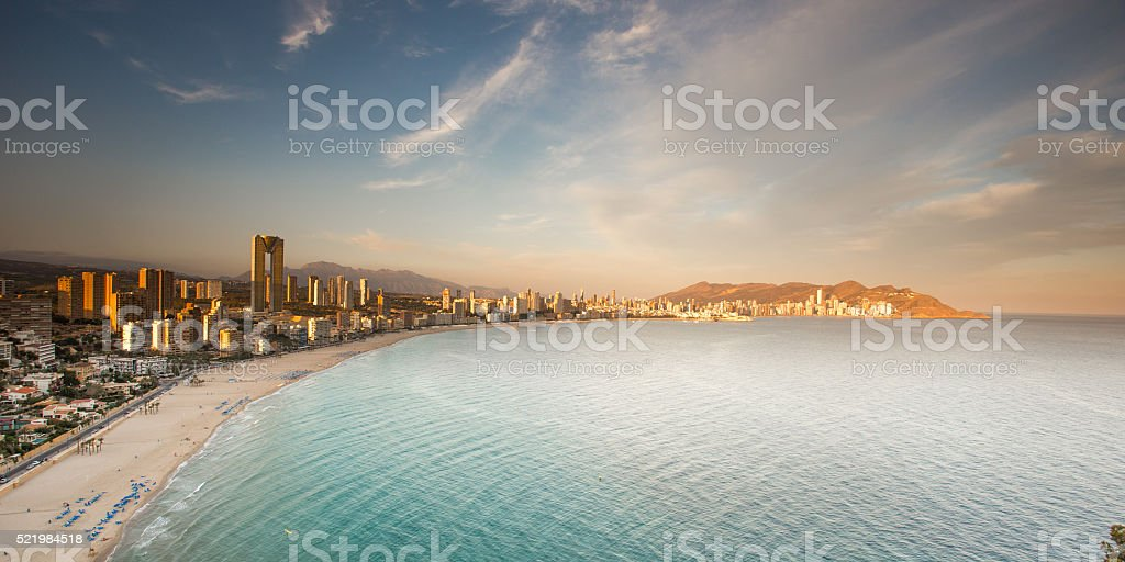 Benidorm panorama at sunset stock photo