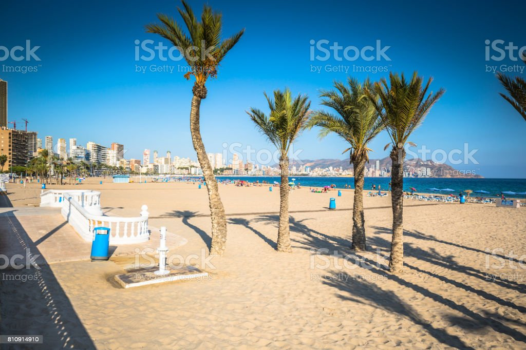 Benidorm Poniente beach in Alicante Mediterranean of Spain stock photo