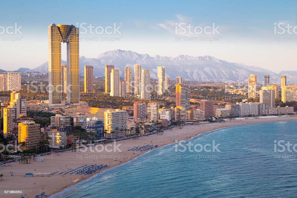 Benidorm skyline aerial view of Poniente beach stock photo