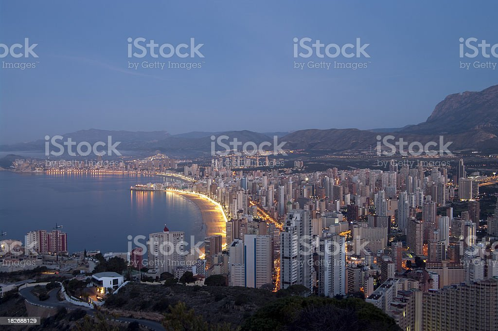 Benidorm skyline in early morning night time stock photo
