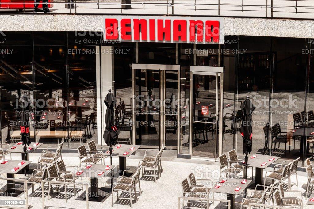 Benihana Japanese Teppanyaki Restaurant. Benihana Offers Theatrically Prepared Food at Your Table III royalty-free stock photo