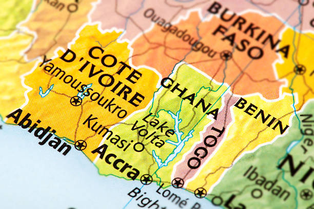 Benin, Ghana, Togo, Cote D'ivoire Map of Benin, Ghana, Togo, Cote D'ivoire. A detail from the World Map provided by RAND McNALLY. côte d'ivoire stock pictures, royalty-free photos & images