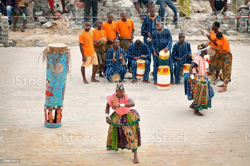 Benin Tour Ship Welcoming Performers royalty-free stock photo