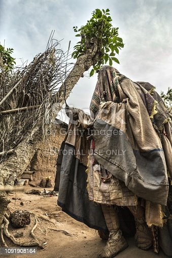 istock Benin, West Africa, an Egoun Egoun blessing the worshippers gathered for the Voodoo ritual. 1091908164