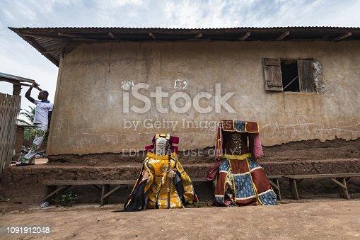 istock Benin, West Africa, the Egoun Egoun spirits during a Voodoo ritual ceremony. 1091912048