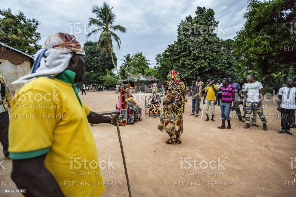 Benin West Africa The Egoun Egoun Spirits During A Voodoo