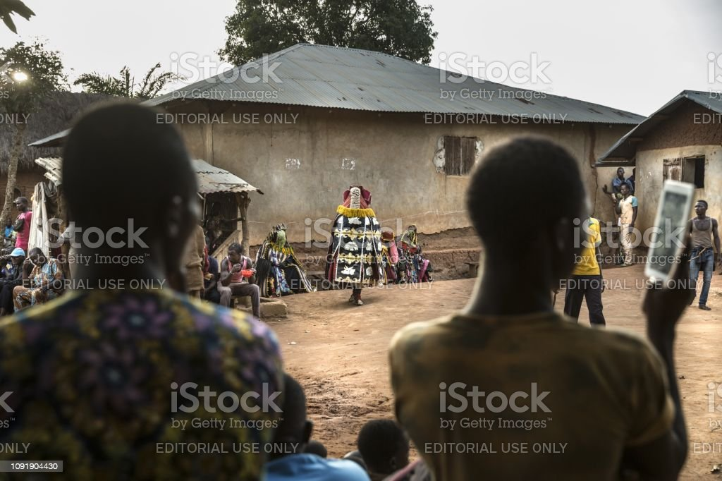Benin West Africa Villagers Gather To Attend A Voodoo Ritual