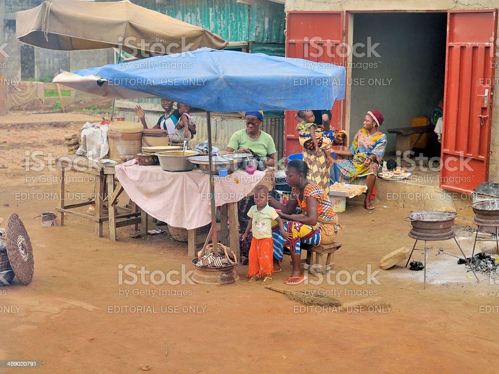 Benin Women Food Vendors royalty-free stock photo