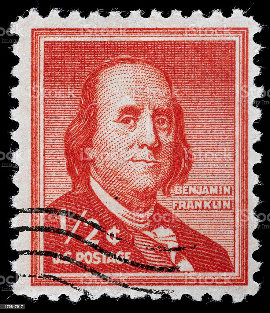 Benjamin Franklin 12 Cent Us Postage Stamp Issued 1956 Stock Photo Download Image Now Istock