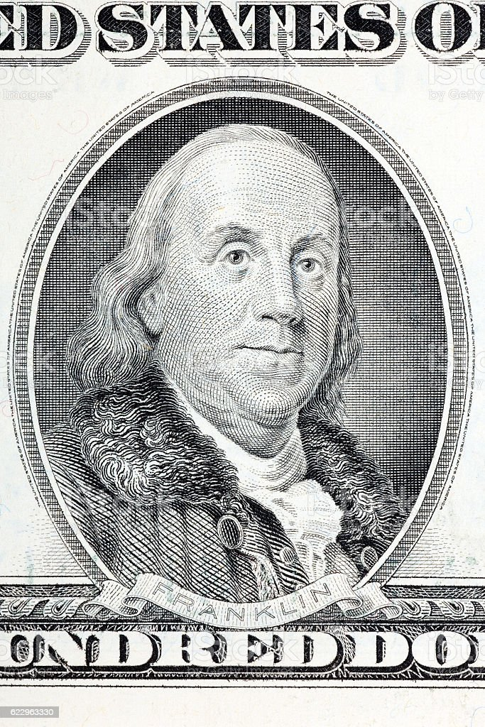 Benjamin Franklin a portrait from old US one hundred dollars stock photo