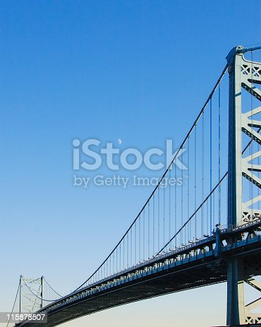 Benjamin Franklin bridge with moon taken from Philadelphia.