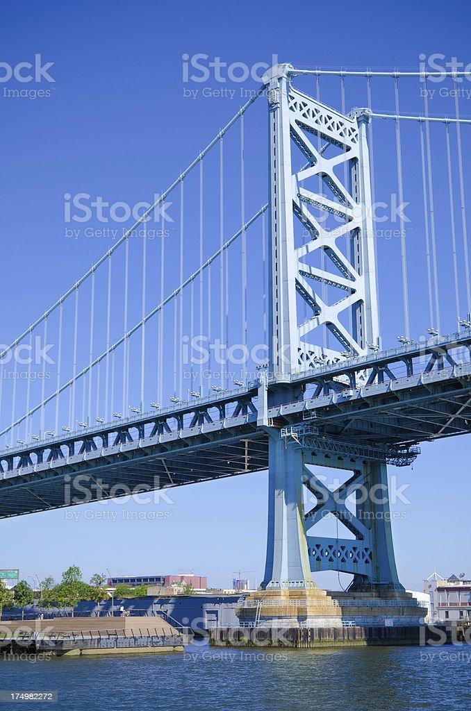 Benjamin Franklin Bridge spanning Delaware River royalty-free stock photo