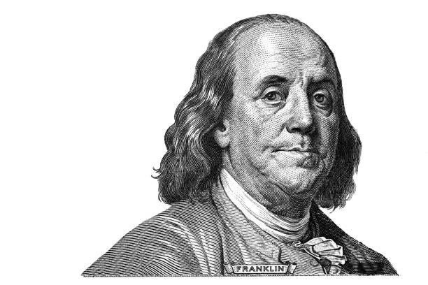 Benjamin Franklin cut on new 100 dollars banknote isolated on white background for design purpose benjamin franklin stock pictures, royalty-free photos & images