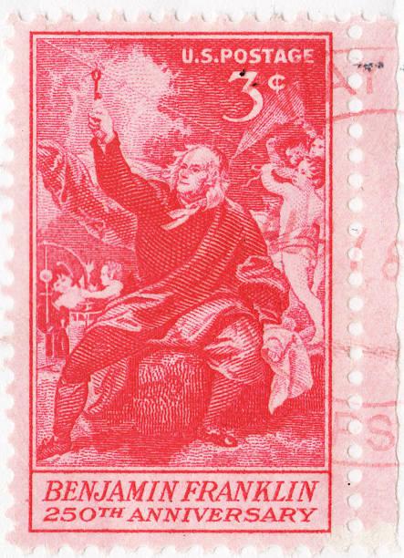 Benjamin Franklin Kite and Key Experiment U.S. Stamp stock photo