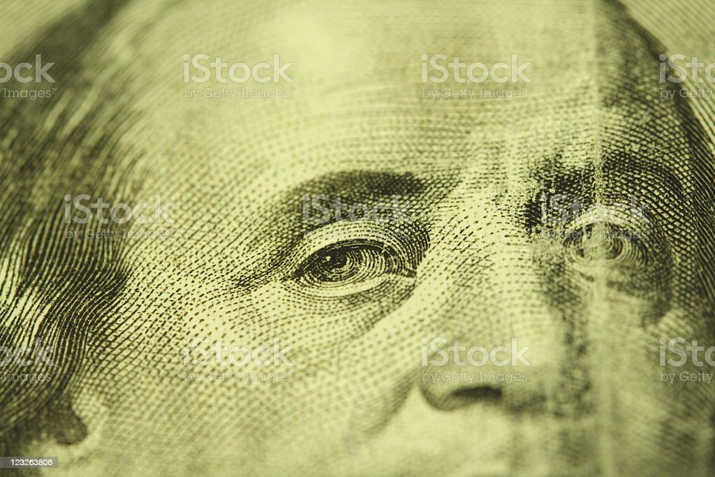 Benjamin Franklin looking at you royalty-free stock photo