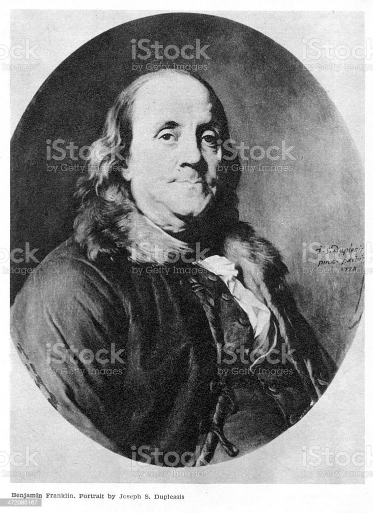 Benjamin Franklin on portrait stock photo