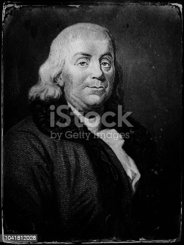 Portrait of Benjamin Franklin (1706 – 1790) was an American polymath and one of the Founding Fathers of the United States. Franklin was a leading author, printer, political theorist, politician, freemason, postmaster, scientist, inventor, humorist, civic activist, statesman, and diplomat.