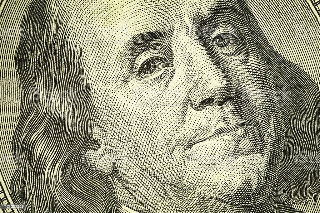 Benjamin Franklin Portrait on One Hundred Dollar Bill | Finance Close-up of Benjamin Franklin Portrait on One Hundred Dollar Bill. High resolution photo taken with Canon 5D Mark II and Sigma lens. American One Hundred Dollar Bill Stock Photo