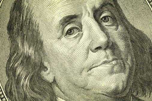 Benjamin Franklin Portrait On One Hundred Dollar Bill Finance Stock Photo - Download Image Now