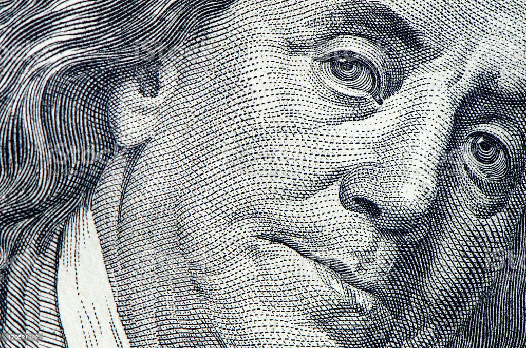 Benjamin Franklin retrato - foto de stock