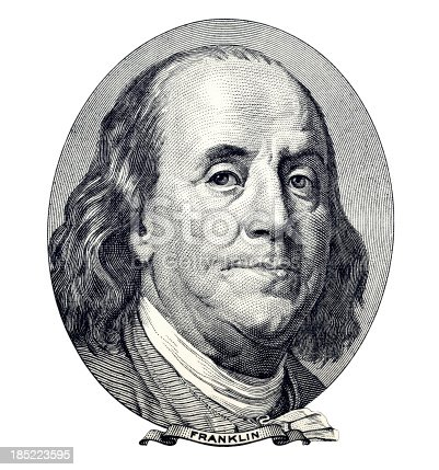 Benjamin Franklin. Qualitative portrait from 100 dollars banknote isolater white background