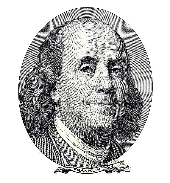 Benjamin Franklin portrait Benjamin Franklin. Qualitative portrait from 100 dollars banknote isolater white background benjamin franklin stock pictures, royalty-free photos & images