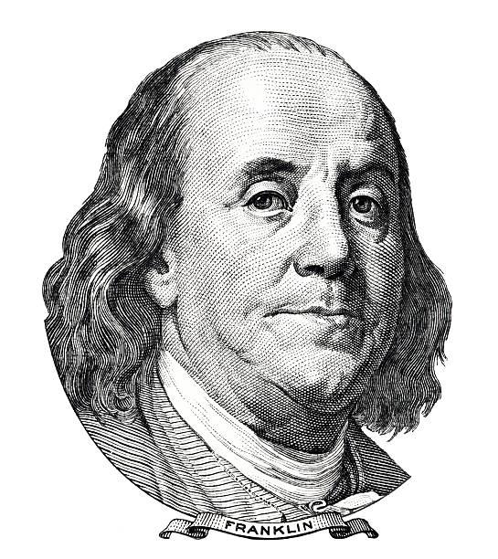 Benjamin Franklin portrait Benjamin Franklin portrait isolated on white background benjamin franklin stock pictures, royalty-free photos & images