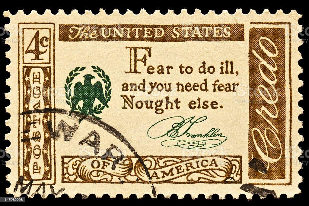 Benjamin Franklin Postal Stamp Slogan stock photo