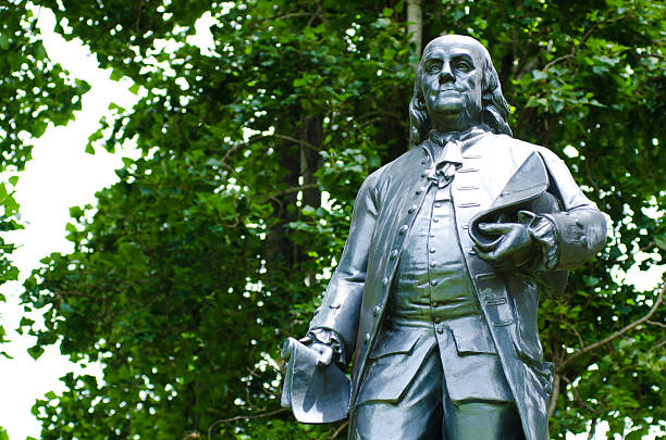 """Benjamin Franklin statue at Washington Square Park in San Francisco """"Statue of Benjamin Franklin at Washington Square Park in San Francisco, CA. Statue was donated to the city of San Francisco by Henry Cogswell in 1879."""" benjamin franklin stock pictures, royalty-free photos & images"""