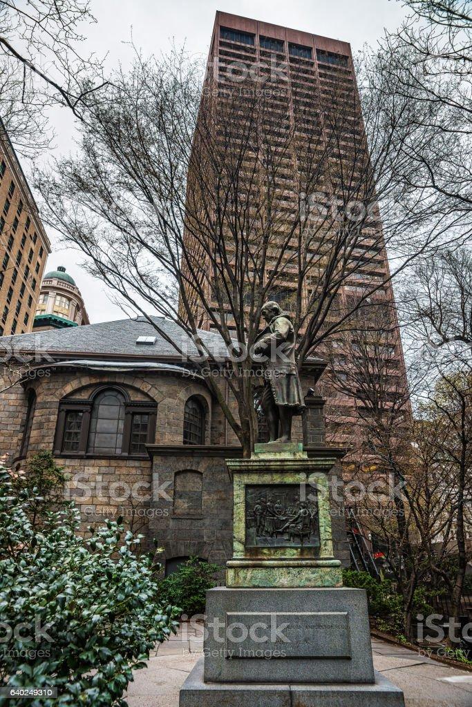 Benjamin Franklin Statue in downtown Boston - foto de acervo