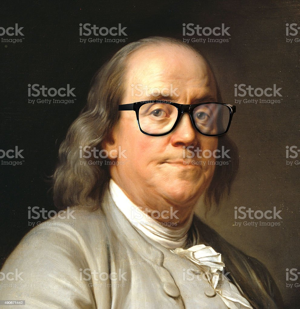 Benjamin Franklin with glasses stock photo