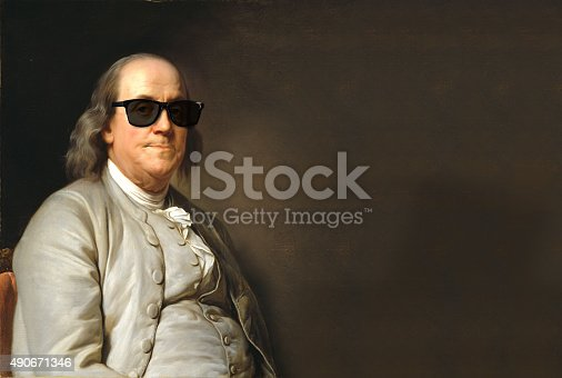 istock Benjamin Franklin with sun glasses 490671346