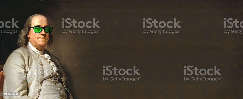 Benjamin Franklin with sun glasses stock photo