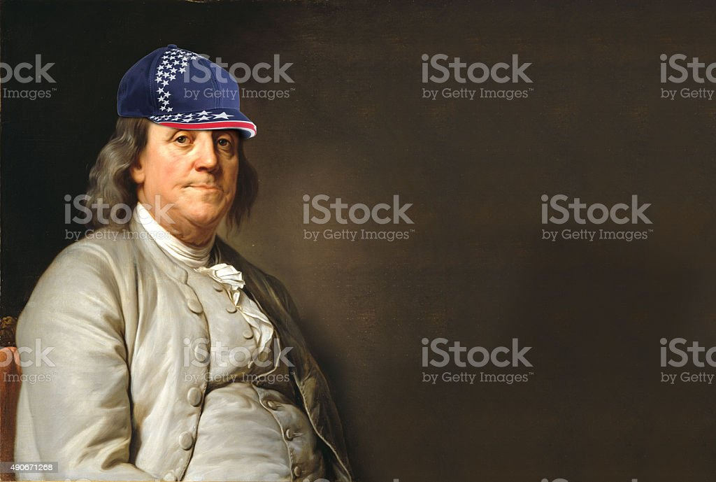 Benjamin Franklin with USA hat stock photo