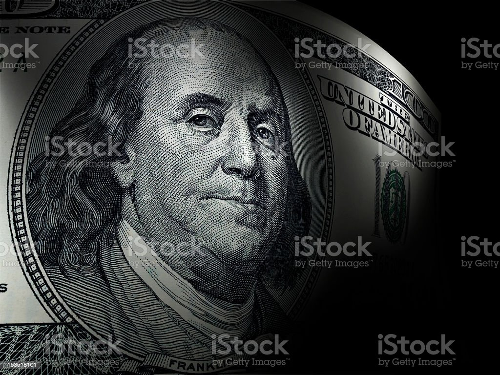 Benjamin Franklin's close up in a hundred dollar bill stock photo