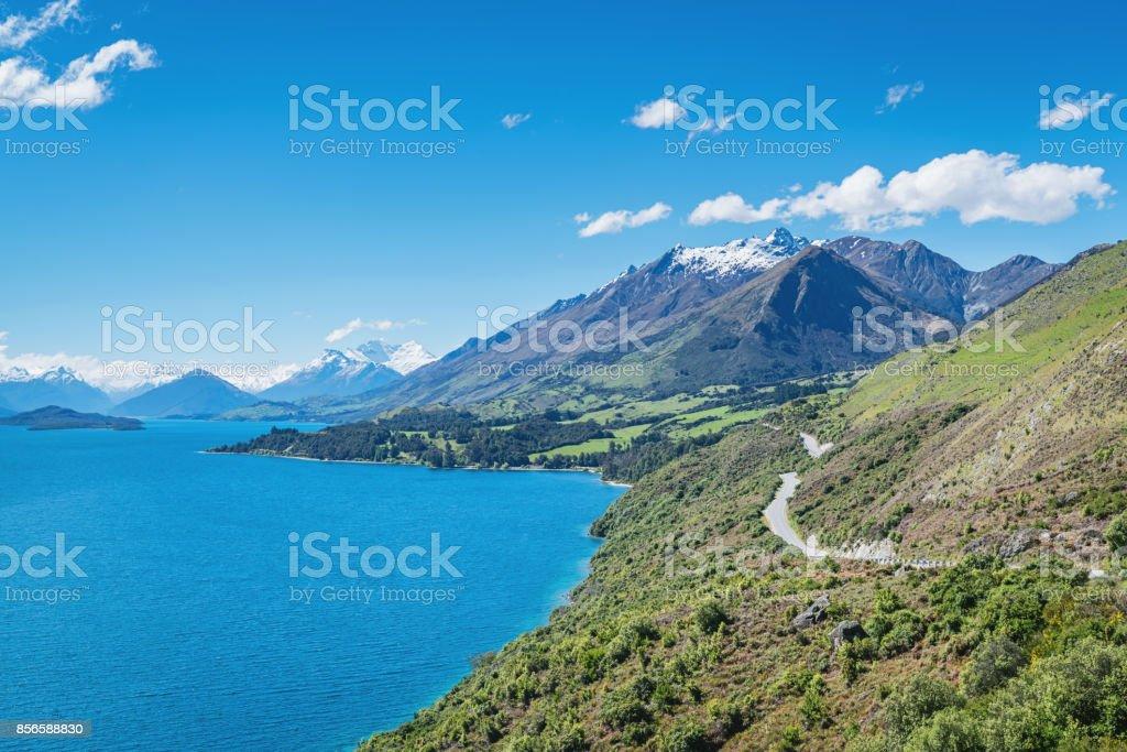 Bennetts Bluff Lake Wakatipu Mount Creighton Glenorchy New Zealand stock photo