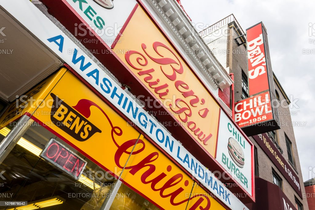 Ben's Chili Bowl, Washington Washington, D.C. Ben's Chili Bowl, a major landmark restaurant founded in 1958 located at 1213 U Street in the Shaw neighborhood. Known locally for its chili dogs, half-smokes, and milkshakes 1958 Stock Photo