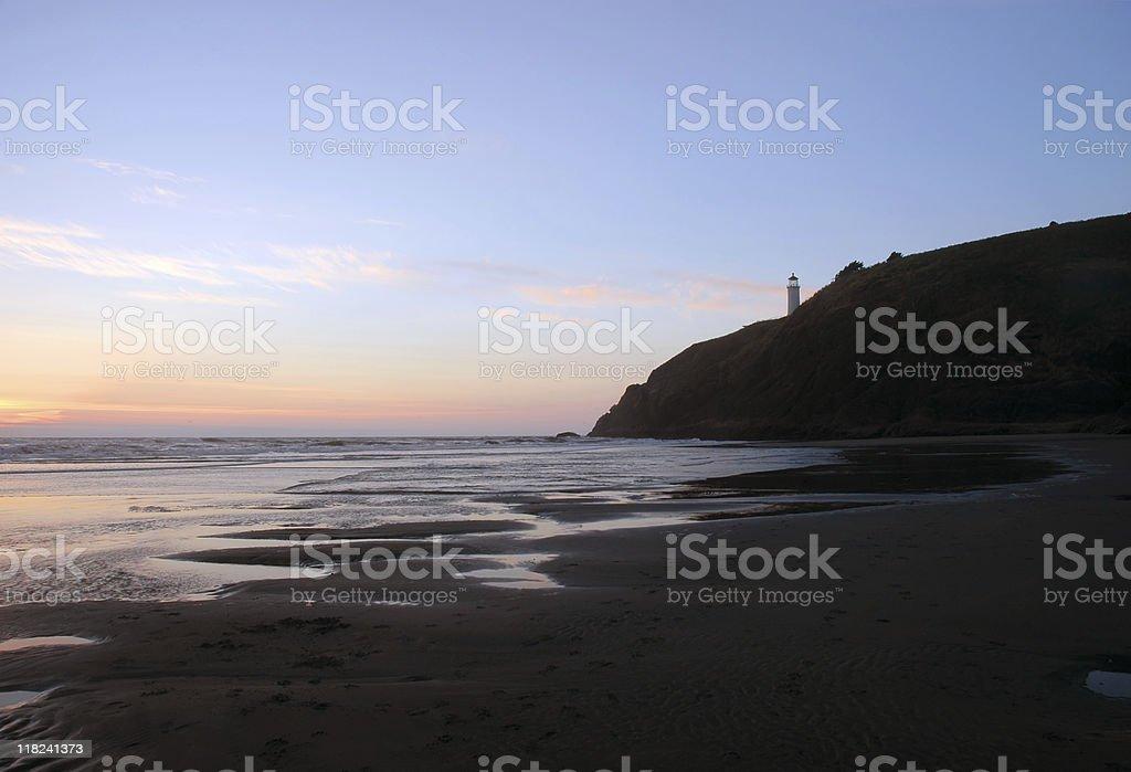 Benson beach and North Head lighthouse stock photo